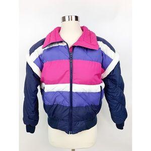 Vintge 1980s Down Puffer Ski Jacket Colorblock M